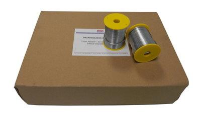 Draadsoldeer Tin / Lood per doos a 20 kg 50/50 Massief 3mm (1kg/Spoel)