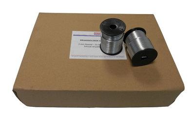 Draadsoldeer Tin / Lood per doos a 20 kg 60/40 Massief 3mm (1kg/Spoel)